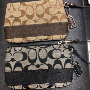 Coach Bundle- 2 Signature Stripe Wristlets